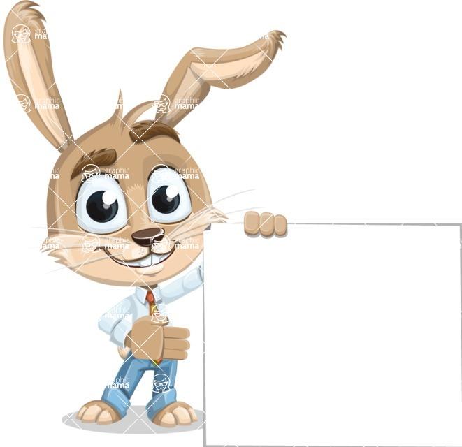 Cute Bunny Cartoon Vector Character AKA Bernie the Businessman - Sign 8