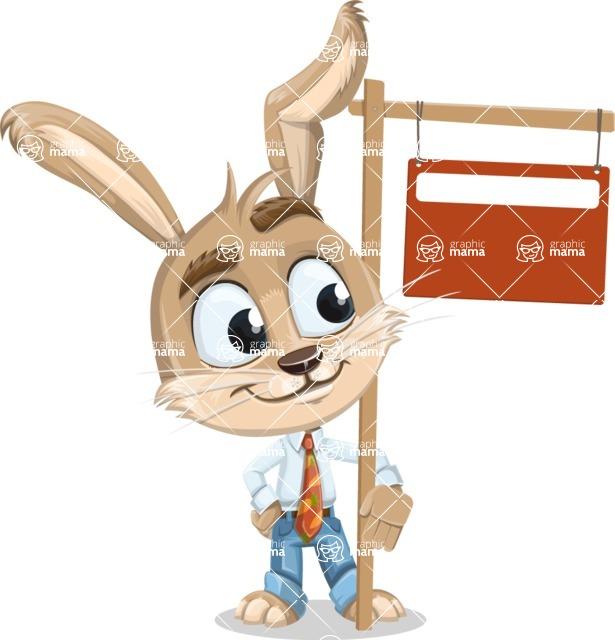 Cute Bunny Cartoon Vector Character AKA Bernie the Businessman - Sign 9