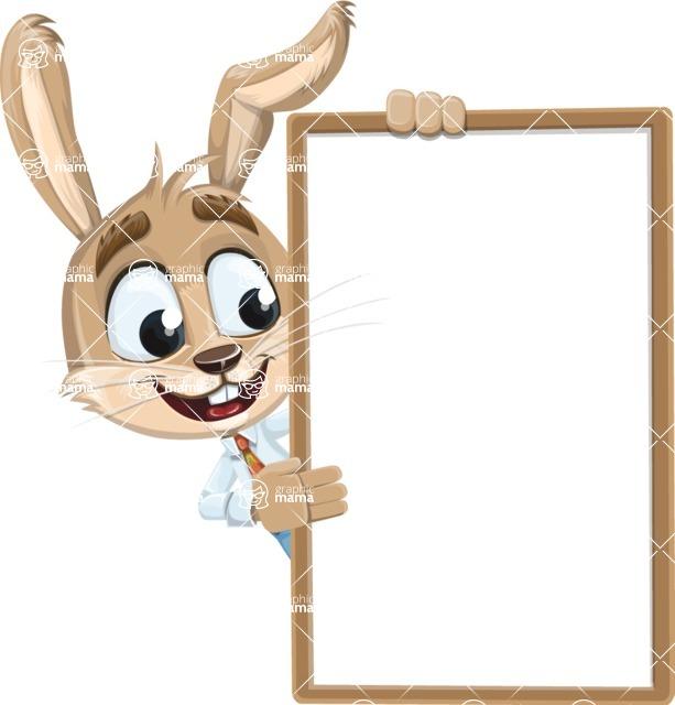 Cute Bunny Cartoon Vector Character AKA Bernie the Businessman - Presentation 4
