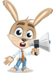 Cute Bunny Cartoon Vector Character AKA Bernie the Businessman - Loudspeaker