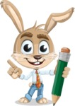 Cute Bunny Cartoon Vector Character AKA Bernie the Businessman - Pencil