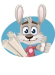 Grey Bunny Cartoon Vector Character AKA Choppy the Casual Bunny - Shape 3