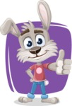 Grey Bunny Cartoon Vector Character AKA Choppy the Casual Bunny - Shape 5