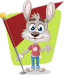 Grey Bunny Cartoon Vector Character AKA Choppy the Casual Bunny - Shape 6