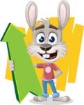 Grey Bunny Cartoon Vector Character AKA Choppy the Casual Bunny - Shape 7