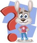 Grey Bunny Cartoon Vector Character AKA Choppy the Casual Bunny - Shape 8