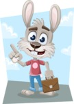 Grey Bunny Cartoon Vector Character AKA Choppy the Casual Bunny - Shape 9