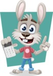 Grey Bunny Cartoon Vector Character AKA Choppy the Casual Bunny - Shape 11