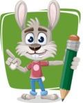 Grey Bunny Cartoon Vector Character AKA Choppy the Casual Bunny - Shape 12