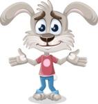 Grey Bunny Cartoon Vector Character AKA Choppy the Casual Bunny - Sorry