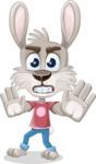 Grey Bunny Cartoon Vector Character AKA Choppy the Casual Bunny - Stop