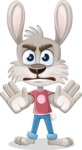 Grey Bunny Cartoon Vector Character AKA Choppy the Casual Bunny - Stop 2