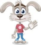Grey Bunny Cartoon Vector Character AKA Choppy the Casual Bunny - Goodbye