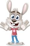 Grey Bunny Cartoon Vector Character AKA Choppy the Casual Bunny - Hello