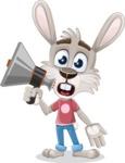Grey Bunny Cartoon Vector Character AKA Choppy the Casual Bunny - Loudspeaker