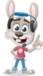 Grey Bunny Cartoon Vector Character AKA Choppy the Casual Bunny - Support 2