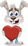 Grey Bunny Cartoon Vector Character AKA Choppy the Casual Bunny - Love