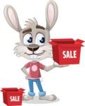 Grey Bunny Cartoon Vector Character AKA Choppy the Casual Bunny - Sale