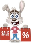 Grey Bunny Cartoon Vector Character AKA Choppy the Casual Bunny - Sale 2