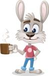Grey Bunny Cartoon Vector Character AKA Choppy the Casual Bunny - Coffee