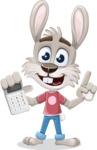 Grey Bunny Cartoon Vector Character AKA Choppy the Casual Bunny - Calculator