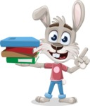 Grey Bunny Cartoon Vector Character AKA Choppy the Casual Bunny - Book 2