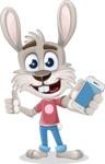 Grey Bunny Cartoon Vector Character AKA Choppy the Casual Bunny - iPhone