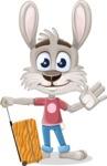Grey Bunny Cartoon Vector Character AKA Choppy the Casual Bunny - Travel 1