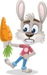 Grey Bunny Cartoon Vector Character AKA Choppy the Casual Bunny - Carrot