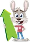Grey Bunny Cartoon Vector Character AKA Choppy the Casual Bunny - Pointer 1