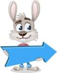 Grey Bunny Cartoon Vector Character AKA Choppy the Casual Bunny - Pointer 2