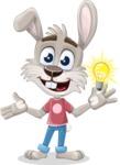 Grey Bunny Cartoon Vector Character AKA Choppy the Casual Bunny - Idea 1