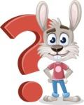 Grey Bunny Cartoon Vector Character AKA Choppy the Casual Bunny - Question