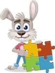 Grey Bunny Cartoon Vector Character AKA Choppy the Casual Bunny - Puzzle