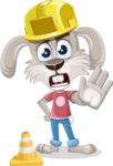 Grey Bunny Cartoon Vector Character AKA Choppy the Casual Bunny - Under Construction 1