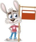 Grey Bunny Cartoon Vector Character AKA Choppy the Casual Bunny - Sign 9