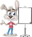Grey Bunny Cartoon Vector Character AKA Choppy the Casual Bunny - Presentation 1