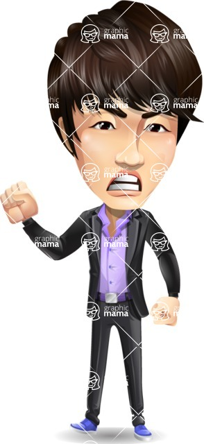 Fashionable Asian Man Cartoon Vector Character - with Angry face