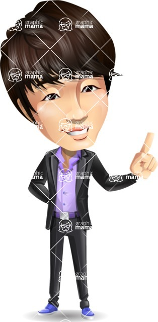 Fashionable Asian Man Cartoon Vector Character - Making a point