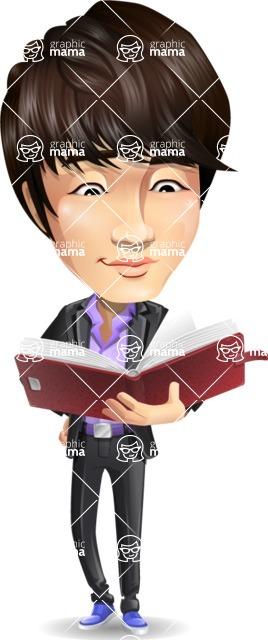 Fashionable Asian Man Cartoon Vector Character - Reading a book