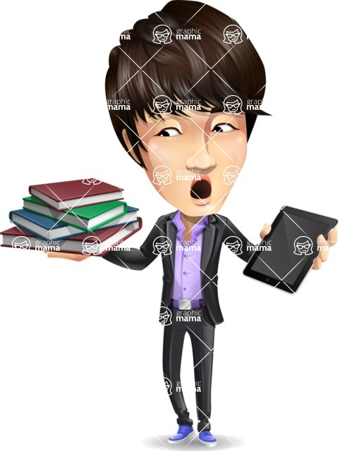Fashionable Asian Man Cartoon Vector Character - Choosing between Book and Tablet