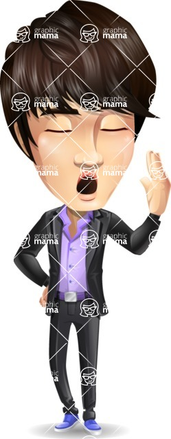 Fashionable Asian Man Cartoon Vector Character - Feeling Bored