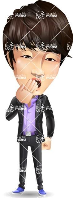 Fashionable Asian Man Cartoon Vector Character - Yawning