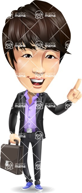 Fashionable Asian Man Cartoon Vector Character - Holding a briefcase