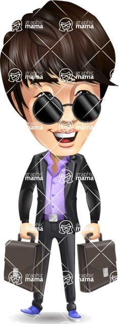 Fashionable Asian Man Cartoon Vector Character - with Two briefcases