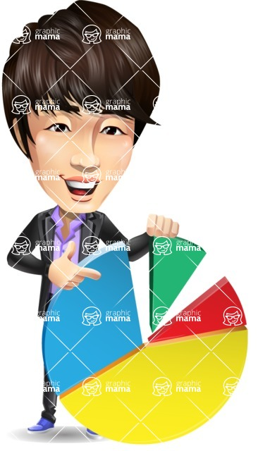 Fashionable Asian Man Cartoon Vector Character - with Business graph