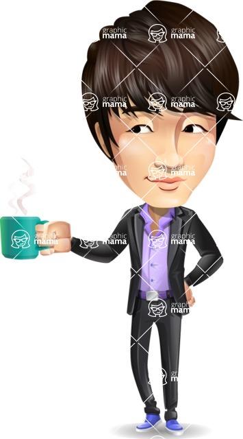 Fashionable Asian Man Cartoon Vector Character - Drinking Coffee