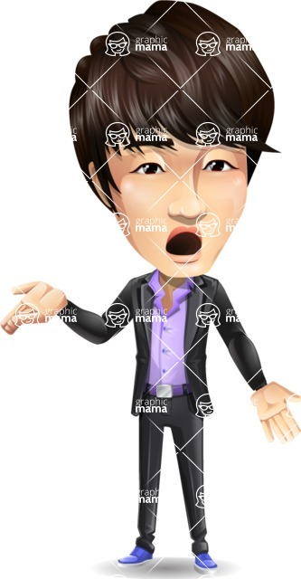 Fashionable Asian Man Cartoon Vector Character - Feeling Confused