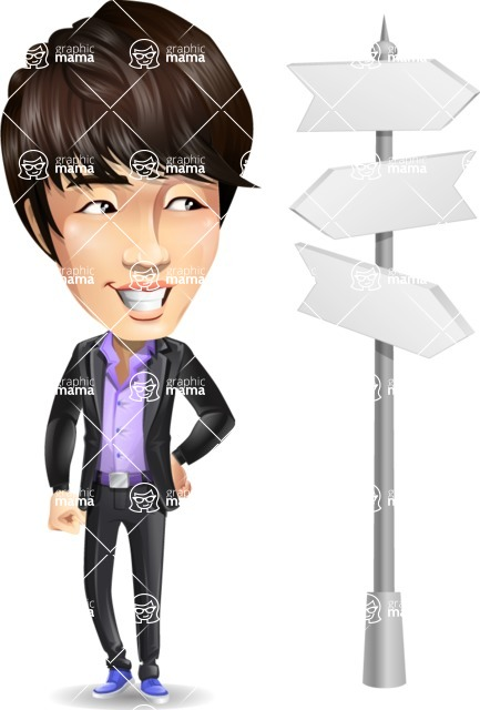 Fashionable Asian Man Cartoon Vector Character - on a Crossroad with sign pointing in all directions
