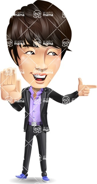 Fashionable Asian Man Cartoon Vector Character - Pointing with a fnger